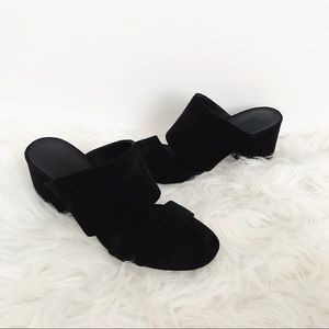 Vince Black Chunky Kitten Heel Sandals
